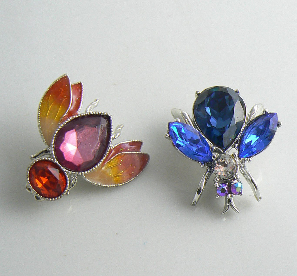 Enamel, rhinestones bees and flies collection - Vintage Lane Jewelry