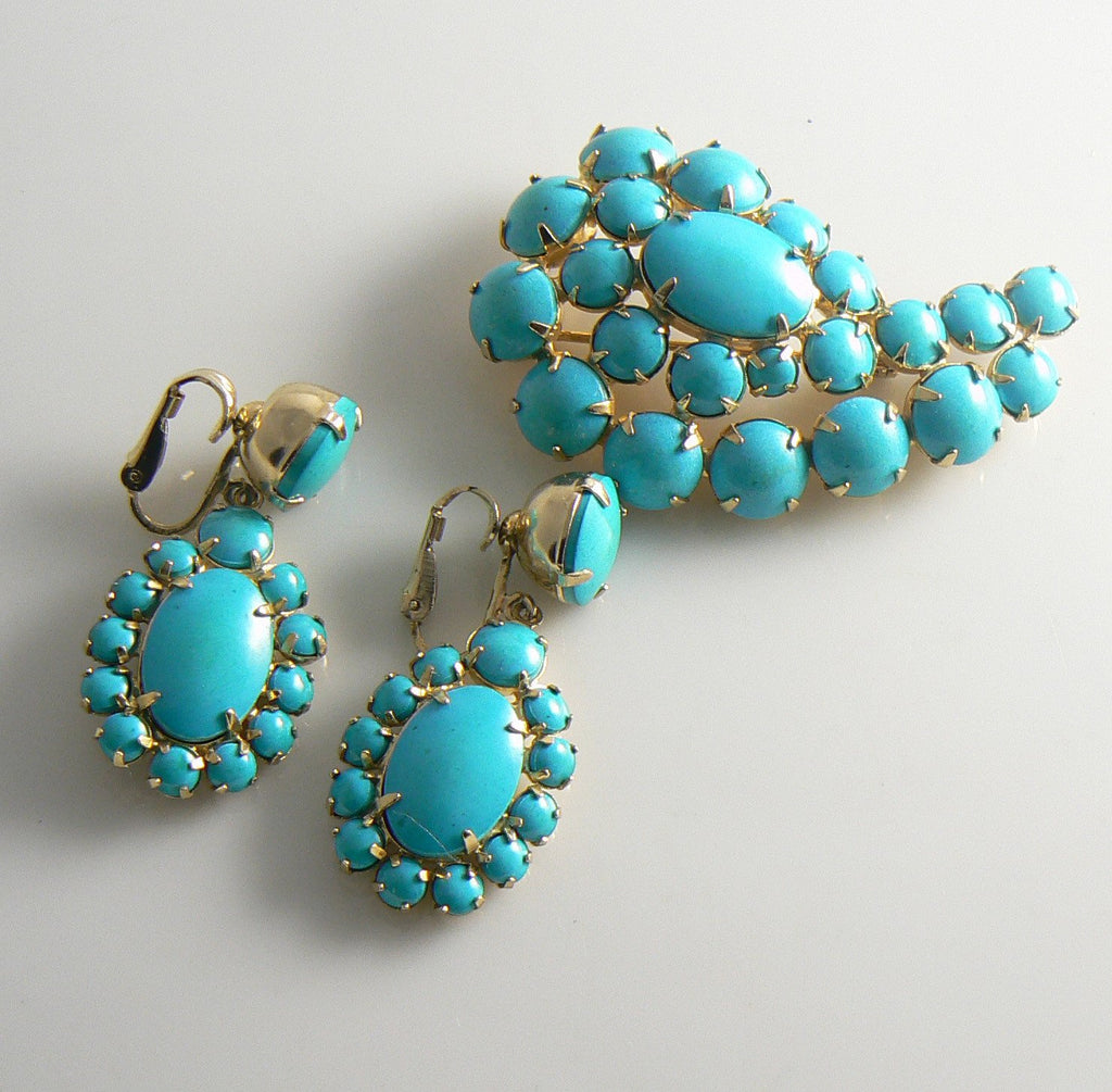 Hattie Carnegie Pin And Earrings Turquoise Blue Cabochons - Vintage Lane Jewelry