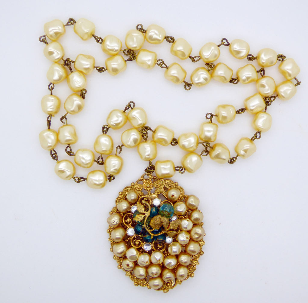 Early Miriam Haskell Baroque Glass Pearl Filigree Pendant Necklace - Vintage Lane Jewelry