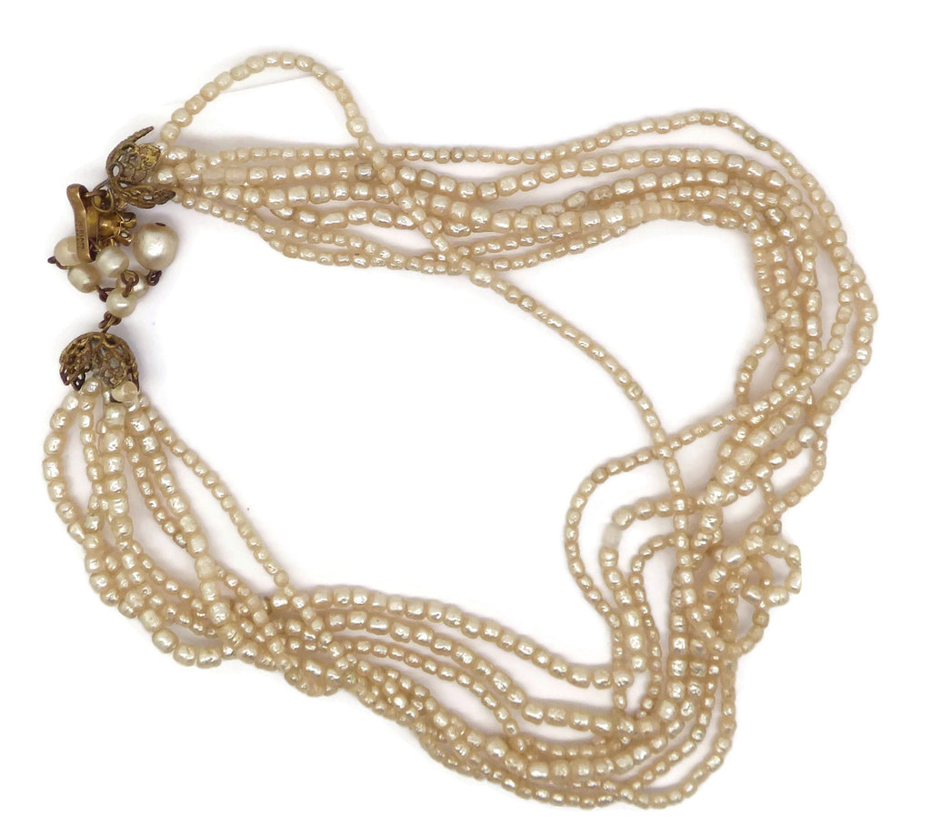 Miriam Haskell 7 Strand Seed Pearl Necklace - Vintage Lane Jewelry
