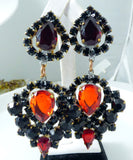 Black and Red Czech Glass Clip Earrings - Vintage Lane Jewelry