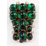 Huge Vintage Art Deco Emerald Diamante Glass Dress Clip - Vintage Lane Jewelry