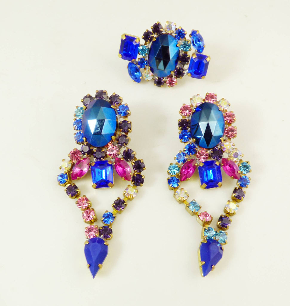 Czech Glass Statement Blue Pink Rhinestone Parure. Necklace, Earrings and Ring - Vintage Lane Jewelry