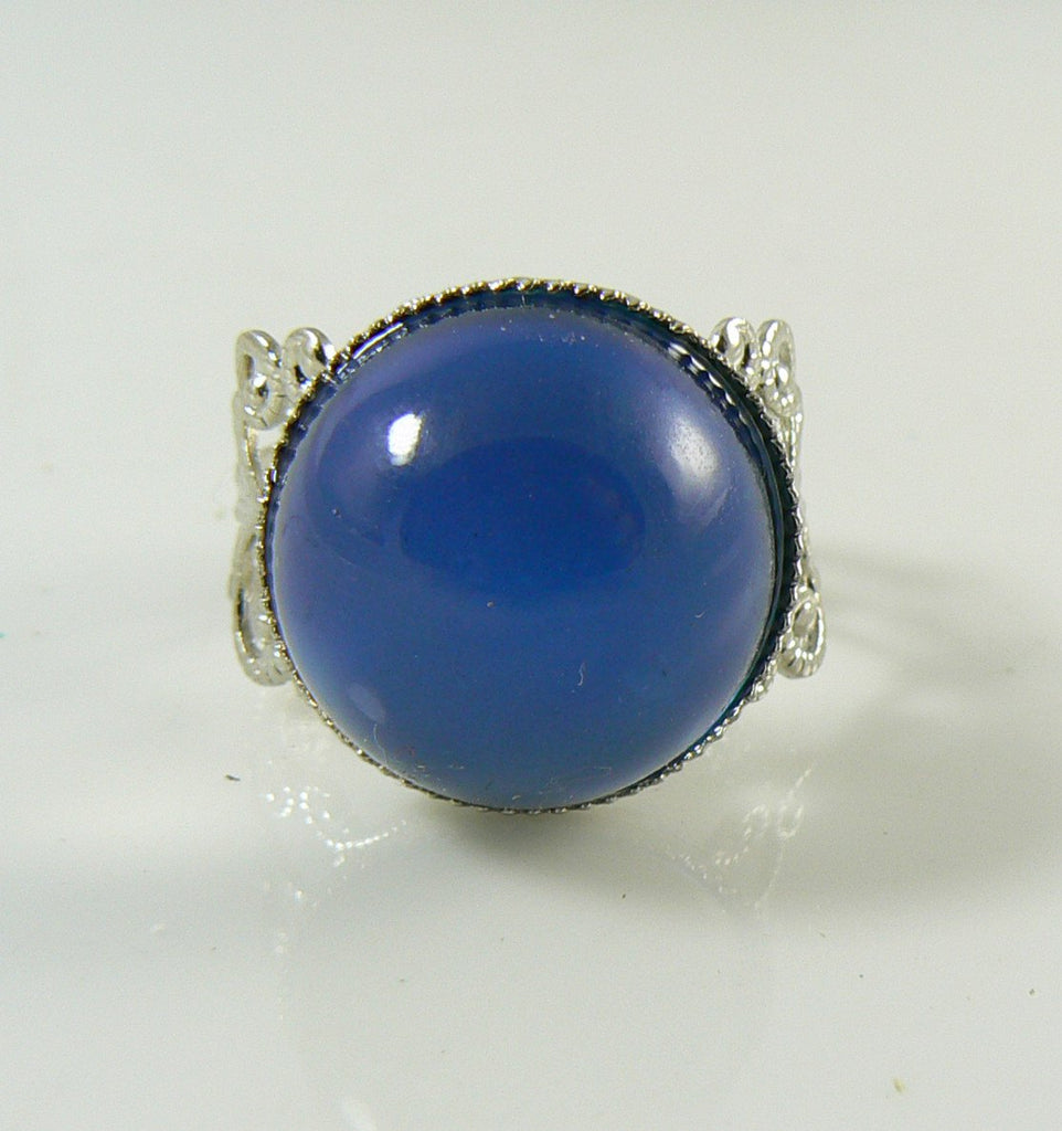 Mood Ring Silver over Brass Round Stone - Vintage Lane Jewelry