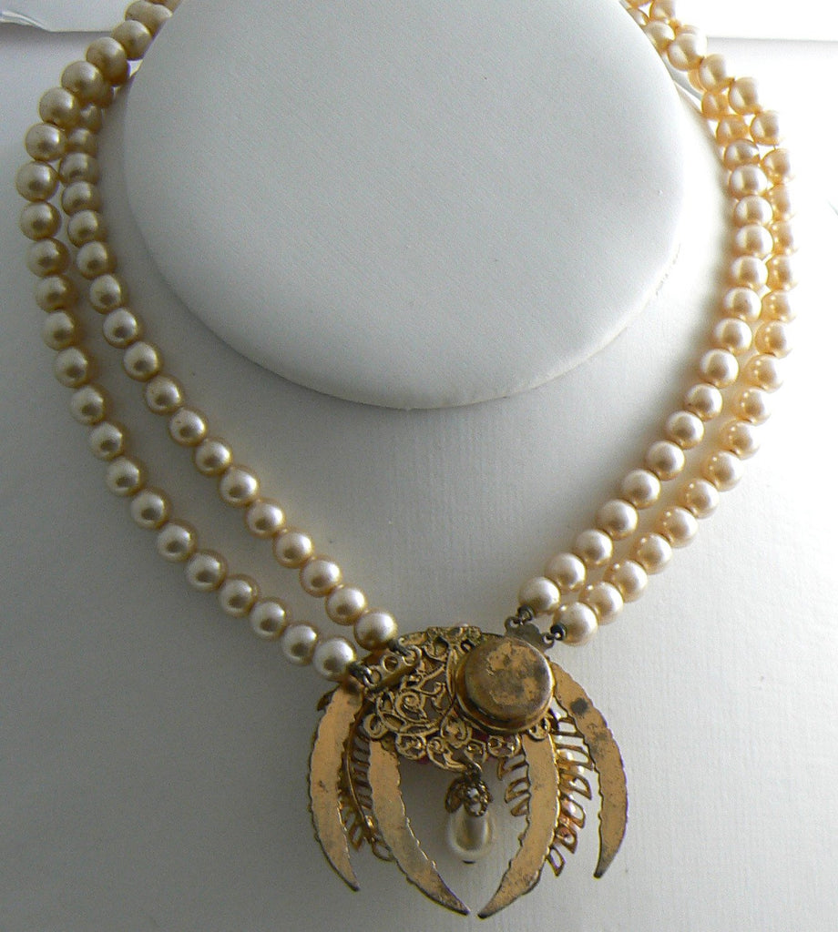 Early Miriam Haskell 2 Strand Rhinestone Centerpiece Necklace - Vintage Lane Jewelry