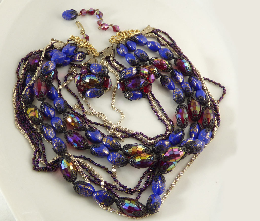 Vintage Signed Hobe AB Carnival Blue Art Glass Necklace Clip Earring Set - Vintage Lane Jewelry