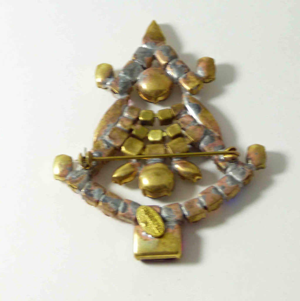 Czech Glass Christmas Tree Pin, Rhinestone Brooch, Bijoux M.G. - Vintage Lane Jewelry
