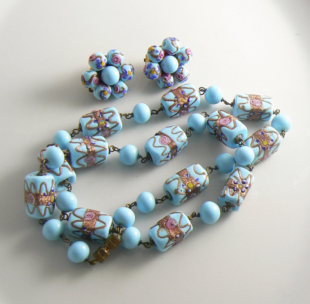 Venetian Wedding Cake Aqua Blue Necklace Earring Set - Vintage Lane Jewelry