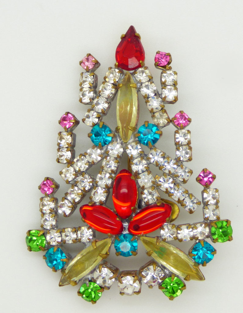 Czech Glass Taboo Christmas Tree Pin, X-mas pin, Holiday Brooch - Vintage Lane Jewelry
