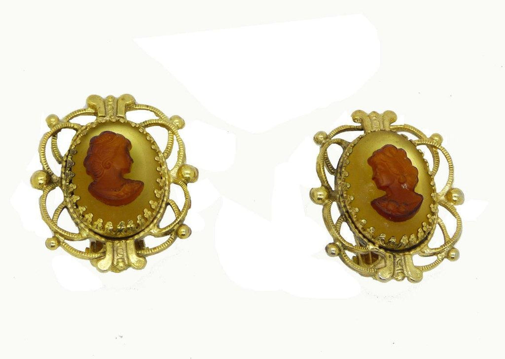 Whiting and Davis Glass Cameo Clip Earrings - Vintage Lane Jewelry