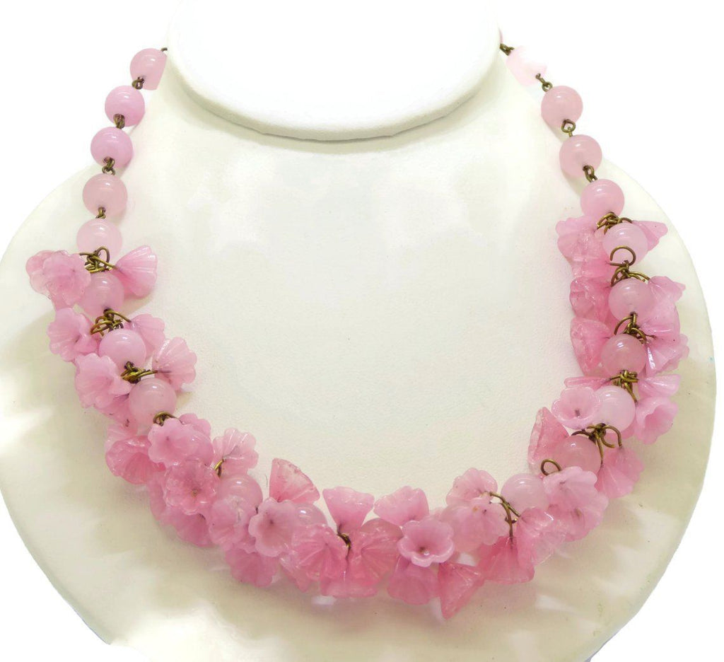 Pink Quartz Beads Glass Flower Necklace - Vintage Lane Jewelry