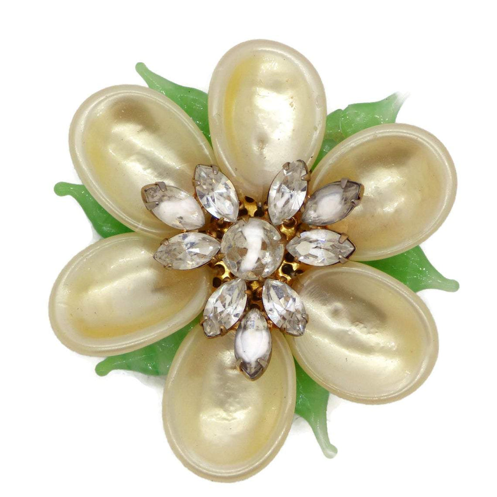 Vintage High End Faux Pearl Art Glass Rhinestone Flower Brooch - Vintage Lane Jewelry