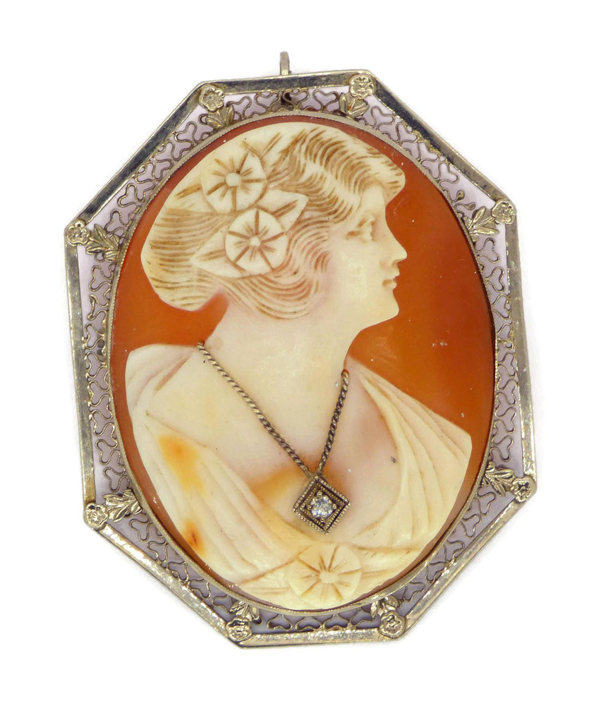Art Deco Carved Shell Cameo 14K White Gold Filigree Frame - Vintage Lane Jewelry