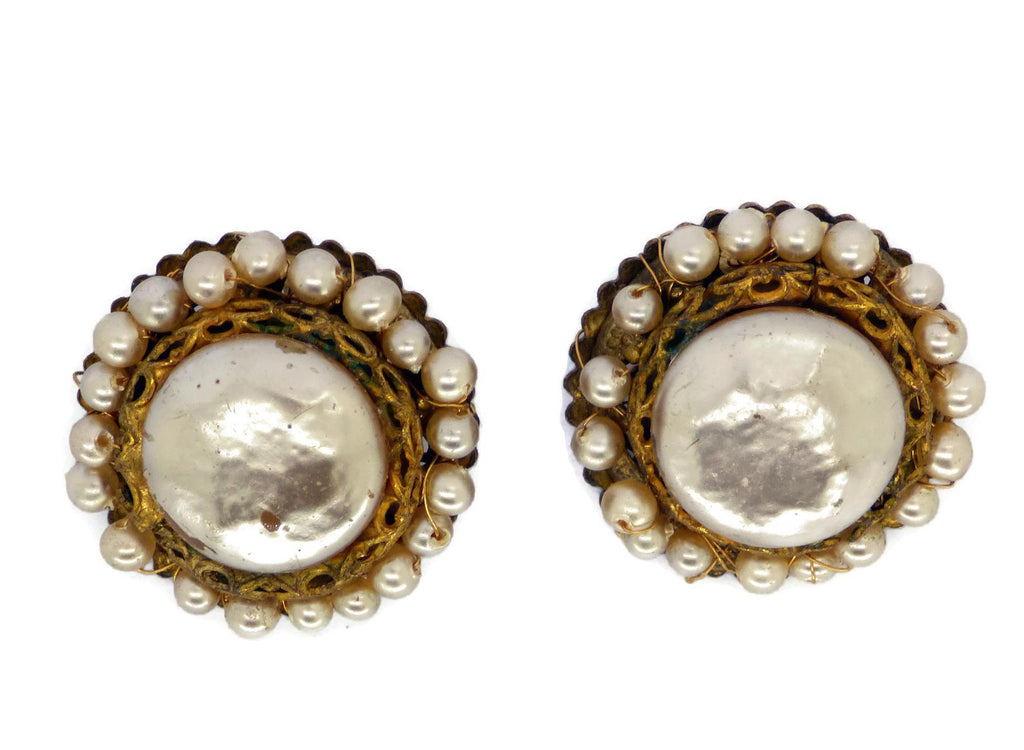 Miriam Haskell Gold Glass Pearl Clip Earrings - Vintage Lane Jewelry