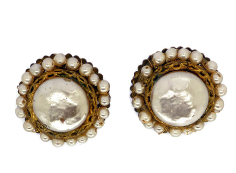 Czech Glass Black Cameo Clip Earrings