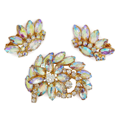 Coro Duette Cockatoo Pot Metal Rhinestone Fur Clips