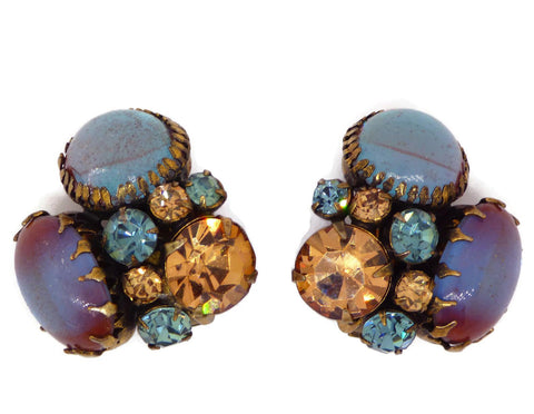 Czech Glass Rhinestone Blue Dangling Clip Earrings