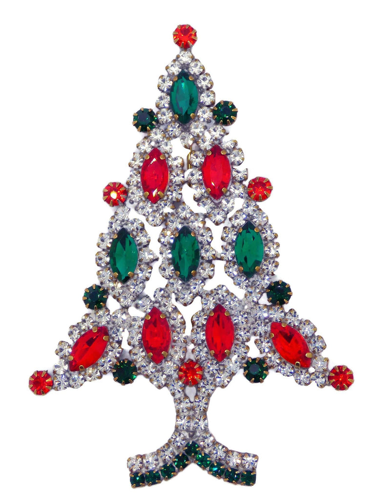 Red, Green and Clear Rhinestone Christmas Tree Brooch - Vintage Lane Jewelry