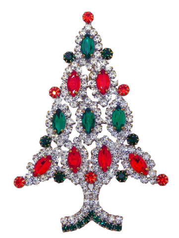 Rhinestone Christmas Tree with Red Candles Brooch