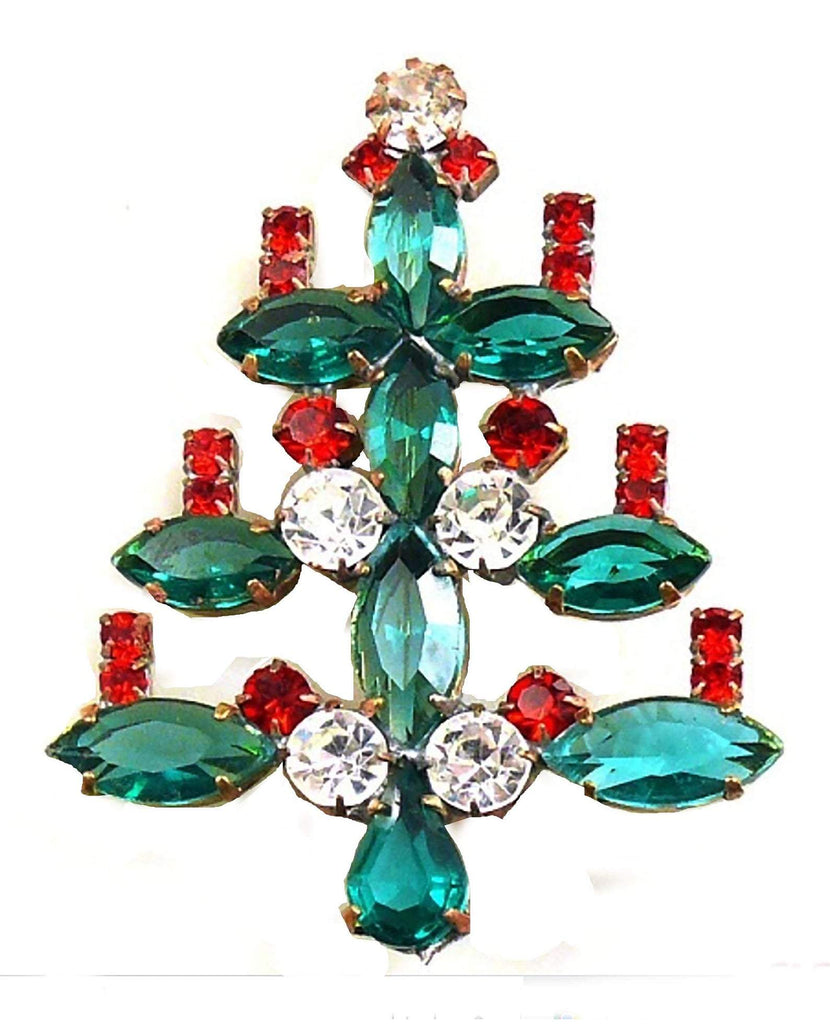 Rhinestone Christmas Tree with Red Candles Brooch - Vintage Lane Jewelry