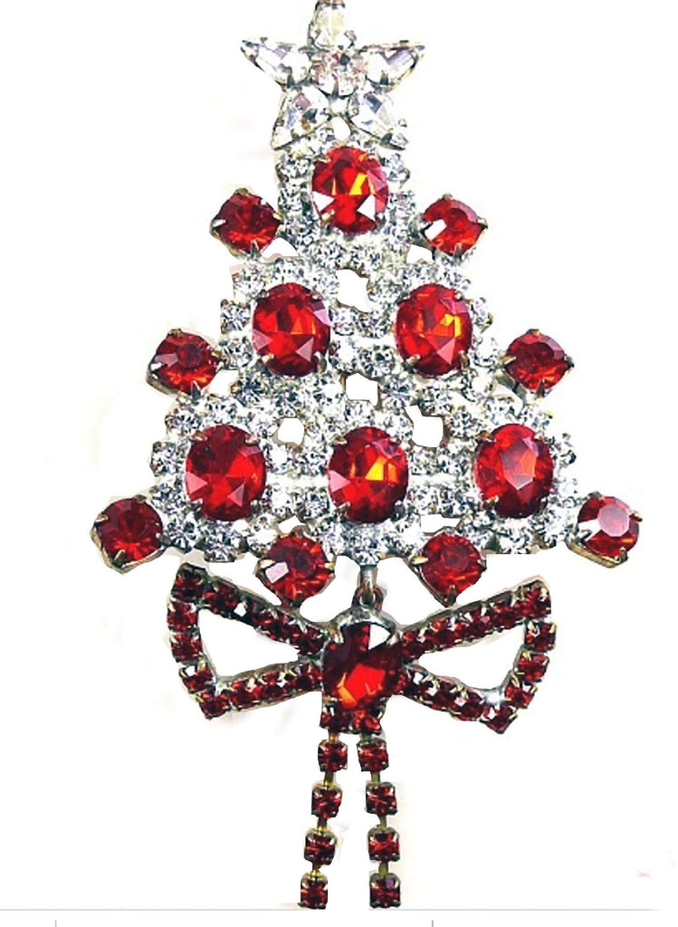Czech Glass Red Rhinestone Christmas Tree Brooch with Dangling Ribbon - Vintage Lane Jewelry