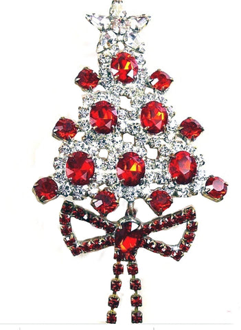 Bijoux MG Czech Pink Christmas Tree Pin