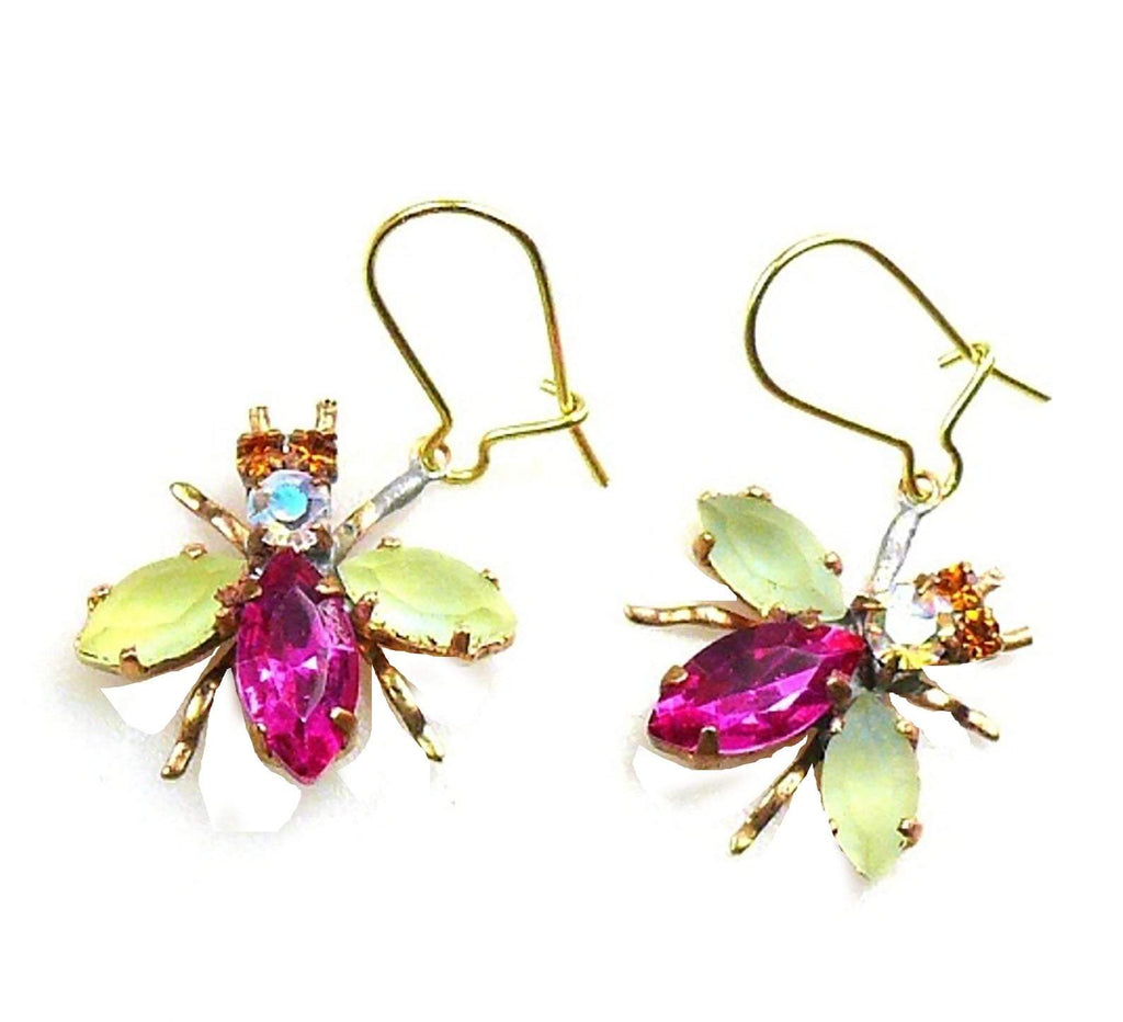 Czech Glass Fly Earrings, Pink Body - Vintage Lane Jewelry