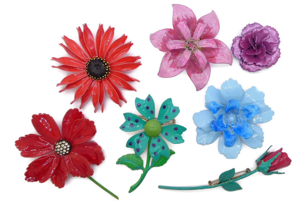 Vintage Enamel Flower Pins - Vintage Lane Jewelry