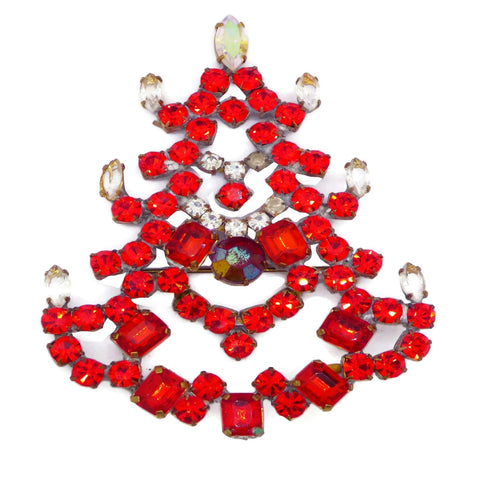 Red, Green and Clear Rhinestone Christmas Tree Brooch