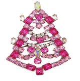 Bijoux MG Czech Pink Christmas Tree Pin - Vintage Lane Jewelry