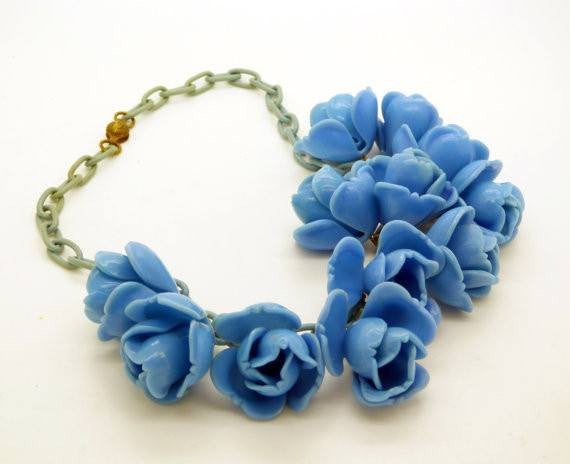 Blue Roses Early Plastic Celluloid Chain Necklace - Vintage Lane Jewelry - 2