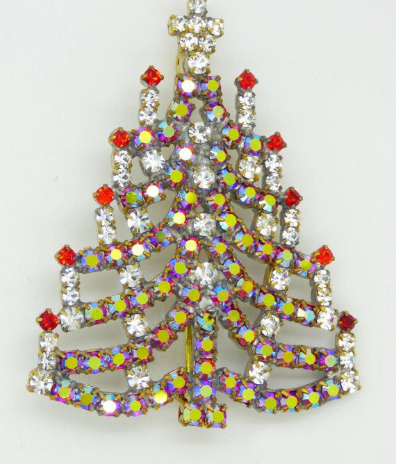 Czech Glass Red AB Rhinestone Christmas Tree Brooch, Xmas Pin, Holiday Brooch. - Vintage Lane Jewelry