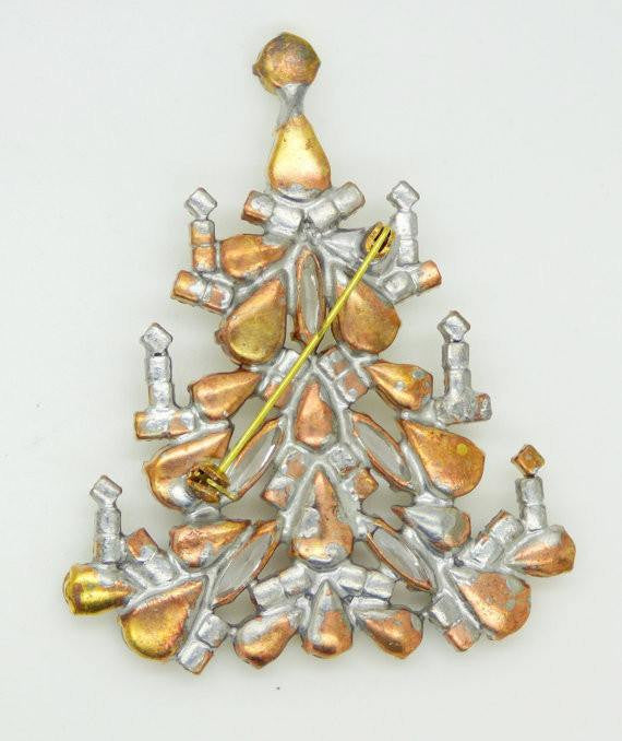 Czech Glass Candles Christmas Tree Brooch, Vintage Rhinestones Xmas Tree Pin - Vintage Lane Jewelry