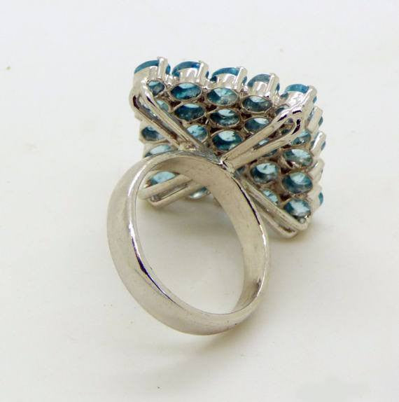 Blue Zircon 52.09 ct. 14k white gold over 925 Sterling Silver Cluster Ring - Vintage Lane Jewelry