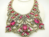 Czech Glass Husar D Pink and Clear Huge Statement Necklace - Vintage Lane Jewelry
