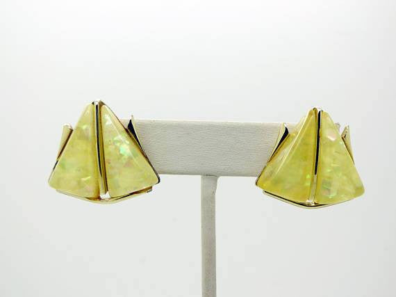Coro Yellow Confetti Thermoset Geometric Necklace and Clip Earrings - Vintage Lane Jewelry