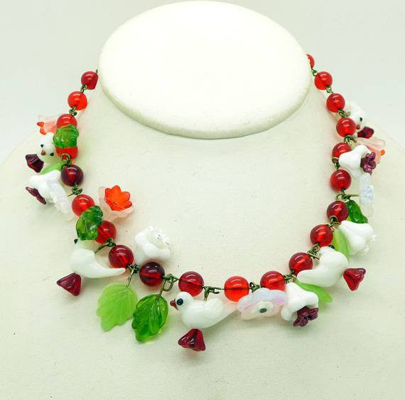 Glass Bird Red Beaded Necklace with Green Glass Leaves, Glass flowers and Whtie Glass Birds - Vintage Lane Jewelry