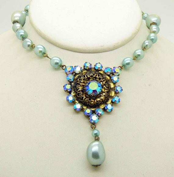 Vintage Baroque Pale Blue Glass Pearl AB Crystal Drop Pendant Necklace - Vintage Lane Jewelry
