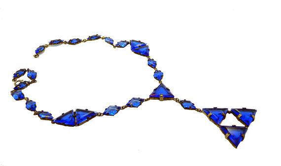 Art Deco Cobalt Blue Czech Glass Geometric Necklace - Vintage Lane Jewelry