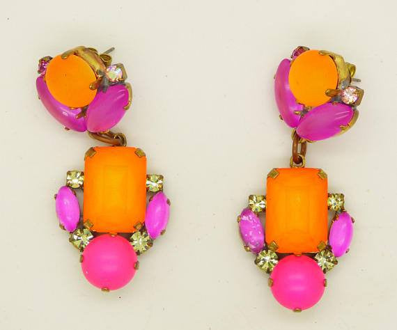 Czech Orange and Pink Neon Pierced Style Earrings - Vintage Lane Jewelry