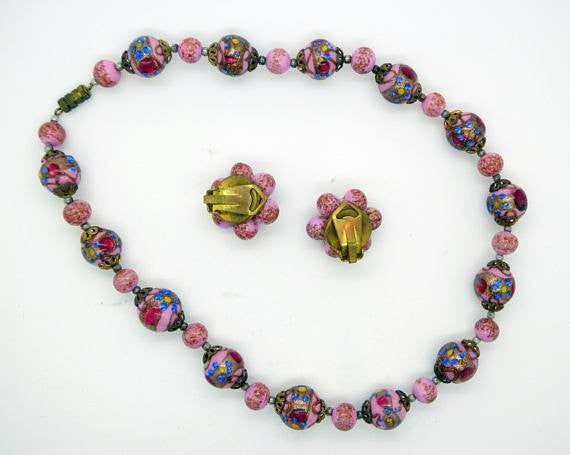 Venetian Wedding Cake Rose Pink Necklace and Matching Clip Earrings - Vintage Lane Jewelry