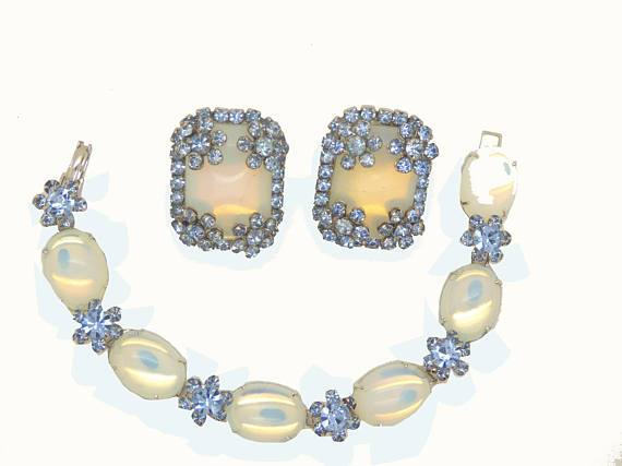 Vintage Hattie Carnegie Cabochon Moonstone Blue Rhinestone Bracelet and Clip Earrings - Vintage Lane Jewelry