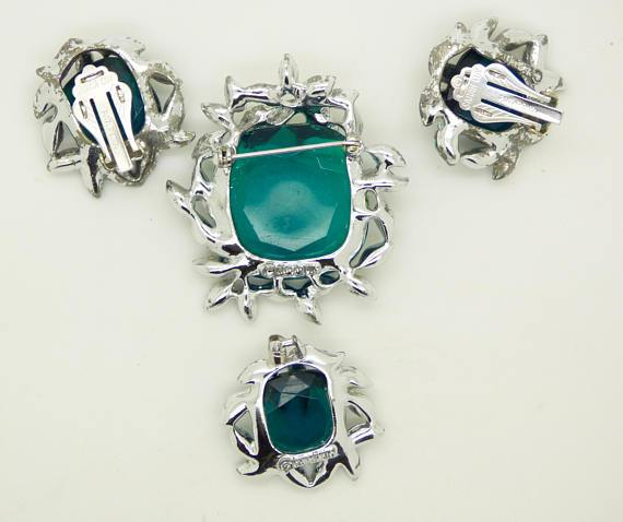 Sarah Cov Emerald Green and Clear Rhinestone Brooch, Pendant and Clip Earrings - Vintage Lane Jewelry