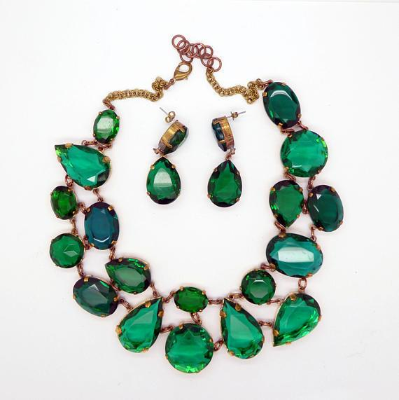 256494650af6b Czech Glass Emerald Green Cluster Statement Necklace and Pierced Earrings  Set