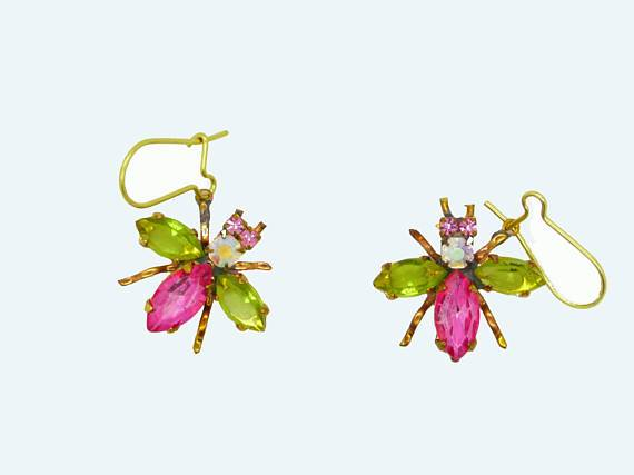 Czech Glass Rhinestone Fly Earrings, Pink Body and Light Green Wings, Pierced Style Earrings - Vintage Lane Jewelry