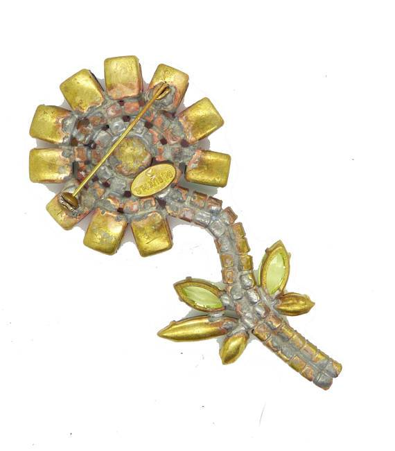 Czech Glass Rhinestone Flower Brooch, Bijoux MG - Vintage Lane Jewelry