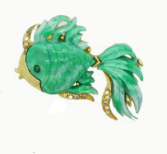 Hattie Carnegie Angel Fish Brooch Green Lucite - Vintage Lane Jewelry