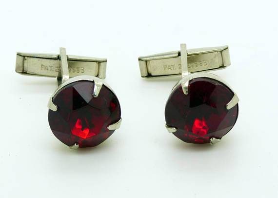 Vintage Red Glass Jewel Silver Tone cufflinks, cuff links - Vintage Lane Jewelry