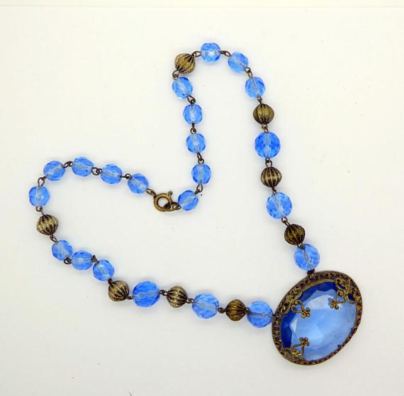 Antique Art Deco Czech Glass Open Back Blue Crystal Necklace Choker - Vintage Lane Jewelry