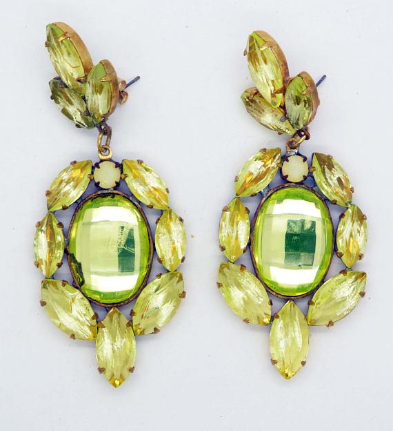 Czech Vaseline Uranium Glass Pierced Style Earrings - Vintage Lane Jewelry